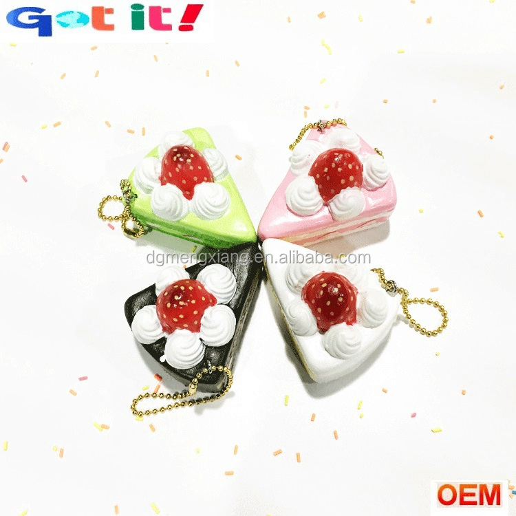 Custom promotional PU foam squeeze fake strawberry cake advertising gifts