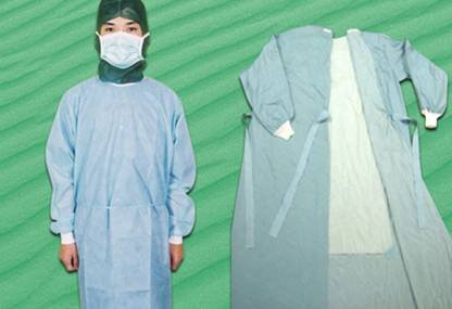 Waterproof isolation green laboratory sms surgeon spunlace surgical gown for dental surgery