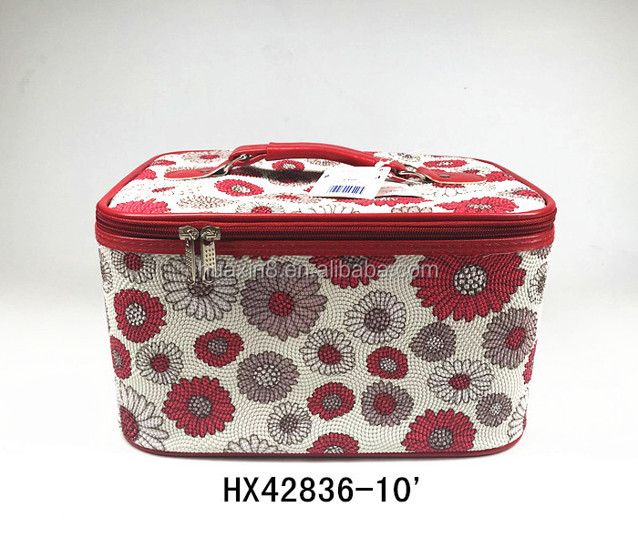 2018 Fashion pvc flower high capacity Cylinder cosmetic bag for lady