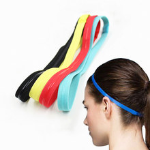 Custom printed solid color women yoga sweatband elastic sport <strong>headband</strong> with silicone