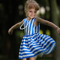 2016 Popular Kids Girls Dresses Sleeveless Blue Stripe Ruffle Dress Clothes For Children Wear GD80828-124F