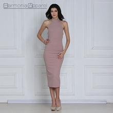 Latest Dusty Pink Woman High Quality Korean Dresses New Fashion Lady Dresses
