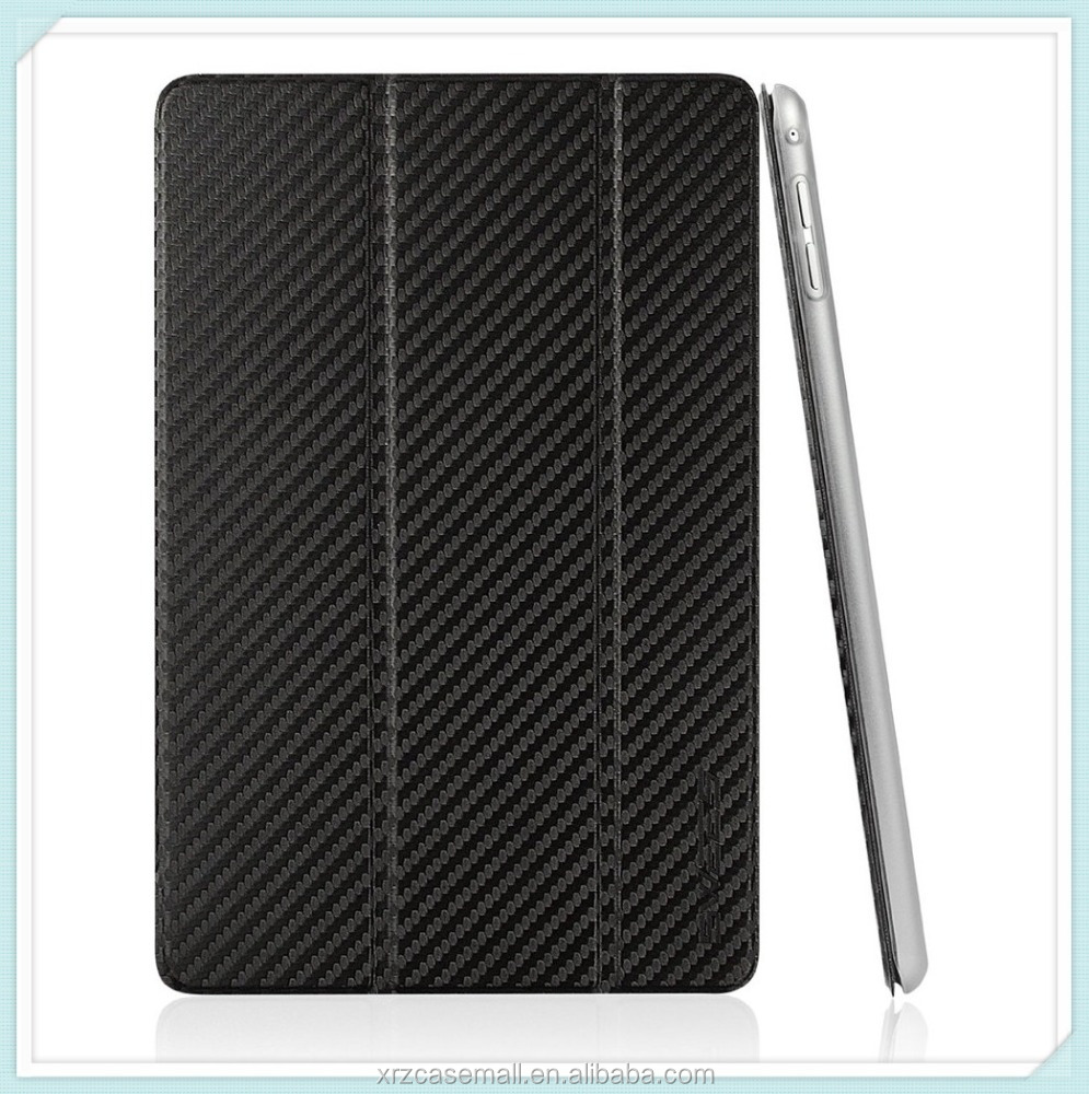 Carbon black color with PU Leather Smart Cover & Clear Back Case for Apple iPad mini 4 (2015 Released) Ultra Slim case