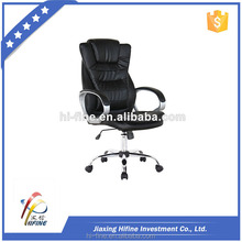 2017 high quality black chrome rotated office chair with footrest for sleeping