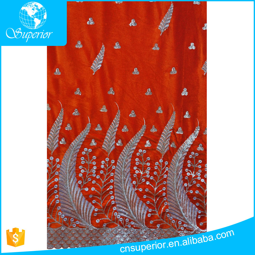 embroidered cotton/polyester velvet cloth fabric african dress material high quality wholesale velour george fabric
