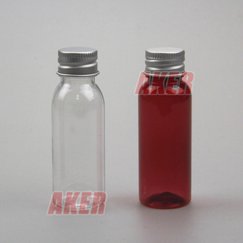 Food Grade Small fruit juice beverage bottle amber sample bottle with metal cap