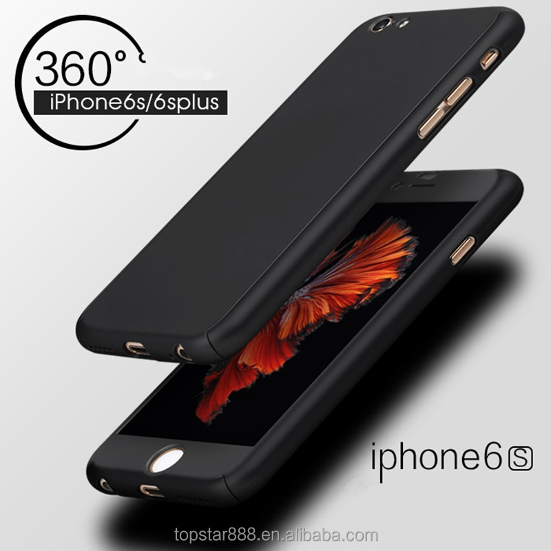 Luxury 360 Degree Full Cover Case with tempered glass protector For <strong>iPhone</strong> 6 6s 7 Plus case
