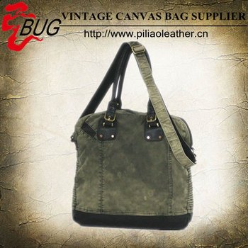 Tea washed canvas unisex long strap denim vintage messenger bag