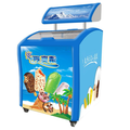 138L To 750L Commercial Open Curved Glass Door Display Chest Icecream Showcase For Supermarket With Advertising LED Box