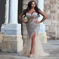 Luxury Crystal Dresses Evening 2017 Split Side Corset Beaded Rhinestone Plus Size See Through Champagne Mermaid Evening Dresses