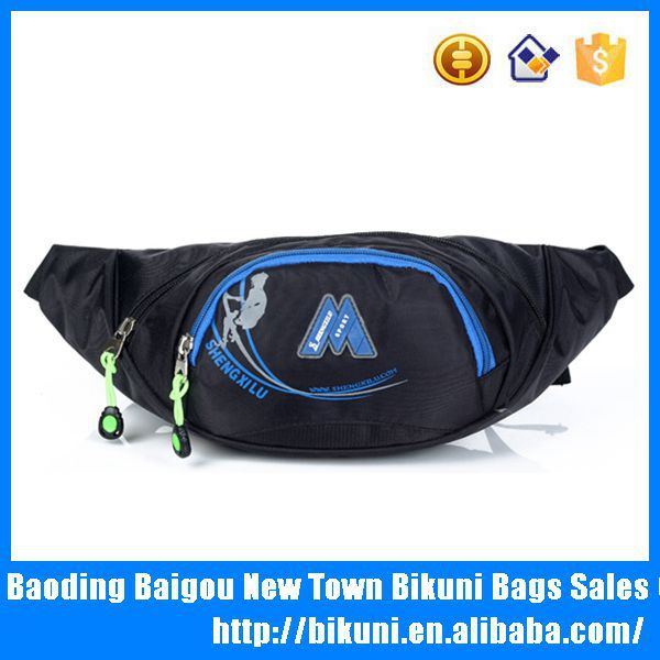 Promotional high quality trendy fashion nylon unisex travelling sport men waist pouch bags