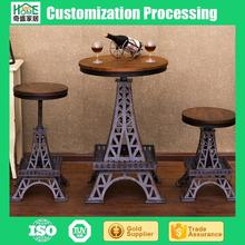 Wholesale Creative Wrought Iron Eiffel Tower Bar Stool Lifting High Chair and Table Set