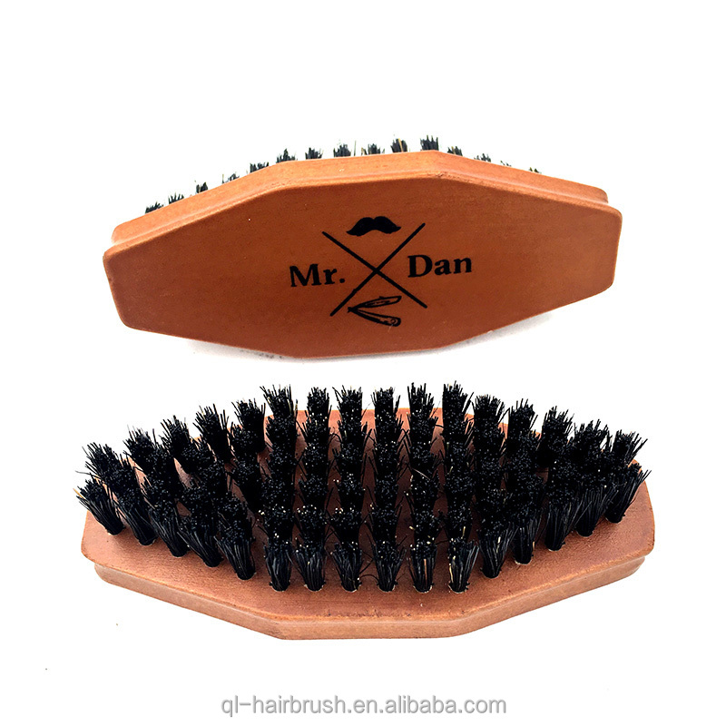 Wood Handle mens boar hair brush for beard boars hair brush wood beard laser print logo