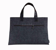 Fashionable Durable Recycled Felt Laptop Tote Zipper Bag