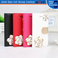 Lichee Pattern Leather and PC Case with rose for Sony Xperia C 1509 with stand holder