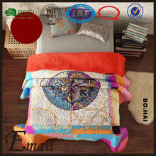 Kantha short plush fleece velvet material high quality quilt print bedding set