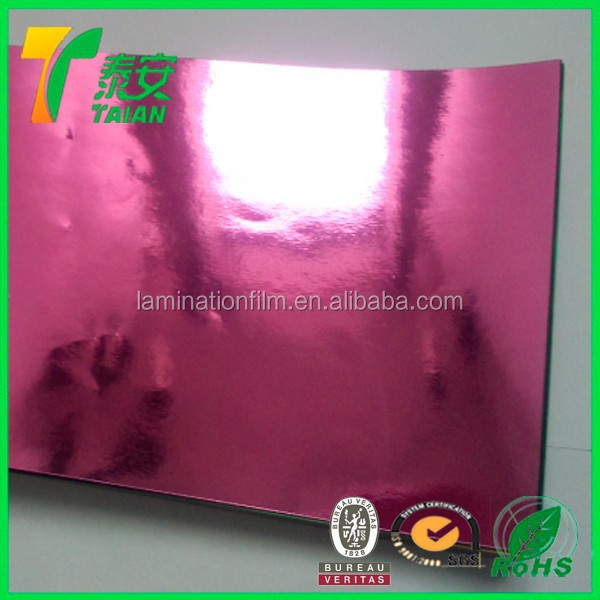 Mirror Polyester Film PET Printing Silver Metalized Thermal Lamination Film