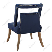 Designers delight antique style modern blue velvet dining chair with silver nail heads