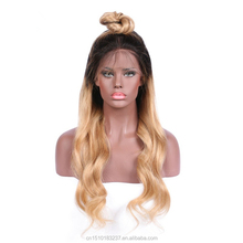 Dropship Custom Ombre Color 1B 27 Blonde Brazilian Hairs Body Wave Full Lace Wig