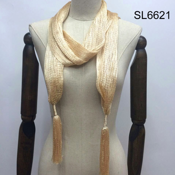 Women sequin style glittering thread fringe wrap long knit scarf
