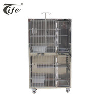 Professional high quality large high-grade hospital stainless steel dog cat cage