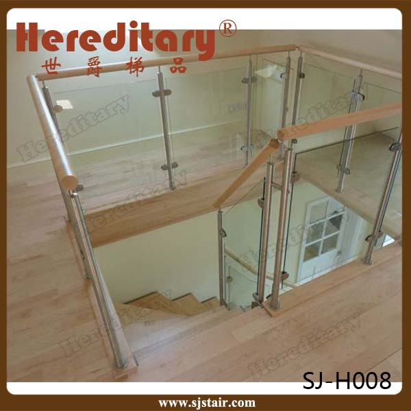 Stainless Steel Stair Glass Railing And Balustrade System Interior With Wood Handrail Buy
