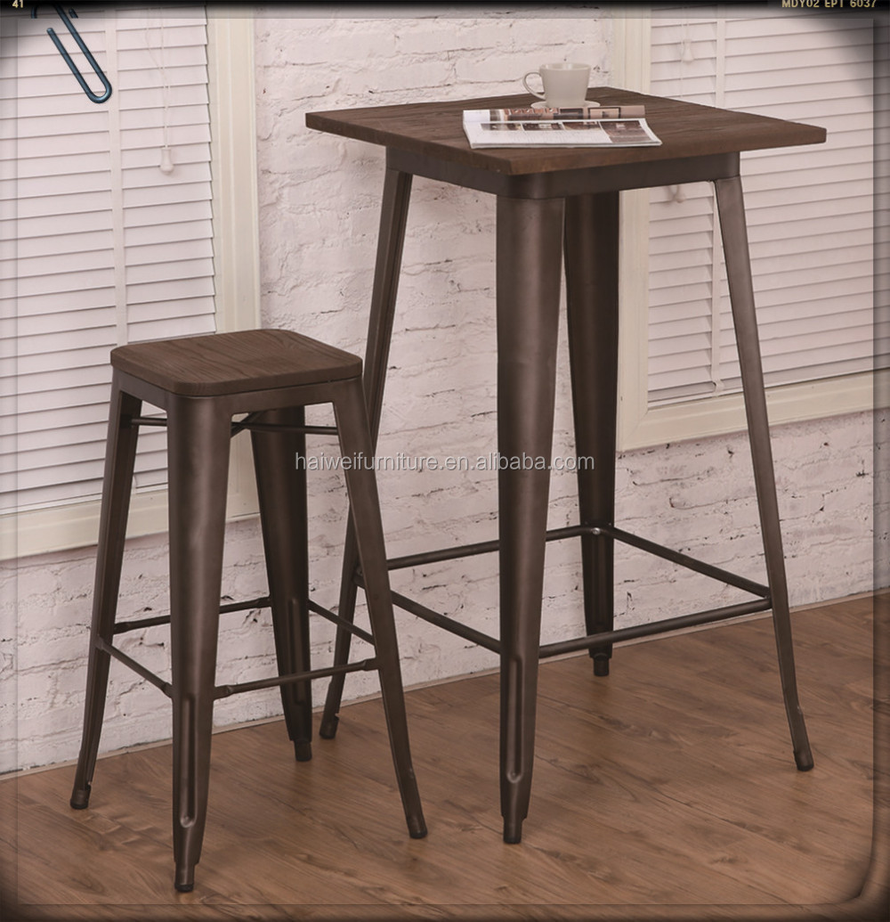 Hot Sale Gunmetal Steel Design High Bar Table With Wood Top