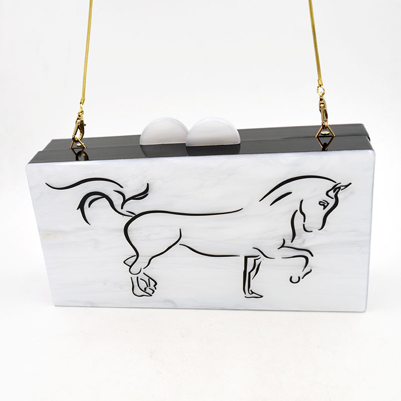 High quality white women bag with powerful horse printed ladies big dinner clutch bag shopping bag