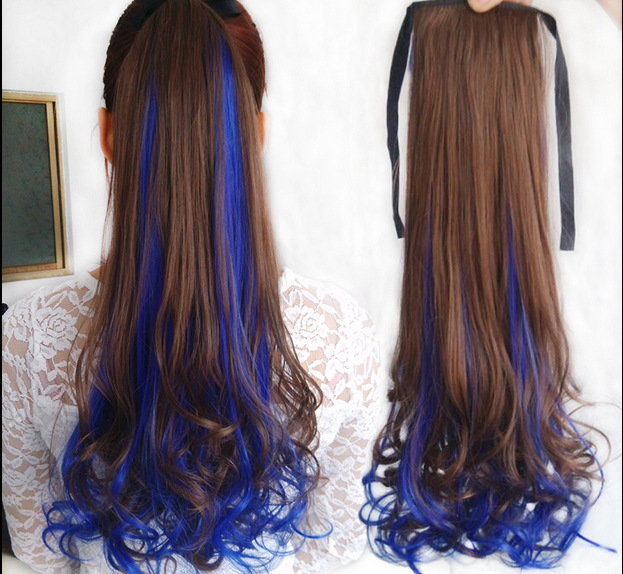 Ombre synthetic hair extension long wavy blue ponytail two tone color drawstring ponytail