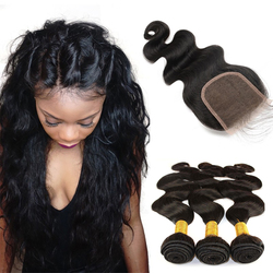 Brazilian Virgin Human Hair Extensions Weave 3 Bundles with 1 lace closure Natural Color Body Wave
