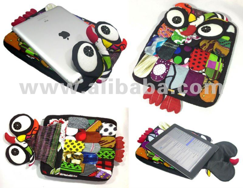 Beautiful and Cute colorful Patchwork Owl bag case handmade for ipad 3 new Cheap