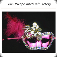High quality flowered feather paillette wholesale christmas halloween masquerade party mask CAL-214