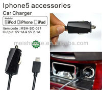 Smart Car Charger with MFI approval for Apple iPhone 5 3G S 4 4G HTC Samsung Galaxy S4 S3
