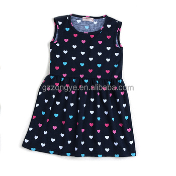 Baby wear heart pattern summer dress sleeveless little girls dress