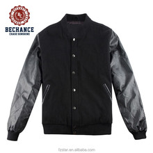 high quality wool varsity jacket with leather sleeves for men M1090
