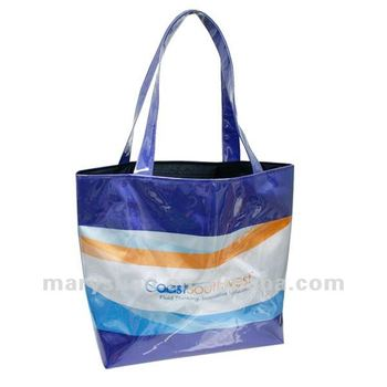 Fully sublimated polyester tote covered completely in clear vinyl