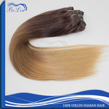 Hot Selling Qingdao Bolin Hair Clip in Hair Extension 7A Grade Aliexpress Ombre Brazilian Virgin Human Hair Weave
