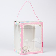 handle cardboard gift box with clear window