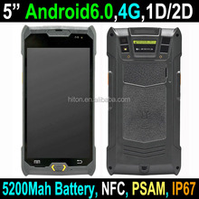 2018 Cheapest 5 inch 4G LTE Android 6.0 PDA Rugged Handhelds with 1D / 2D barcode scanner