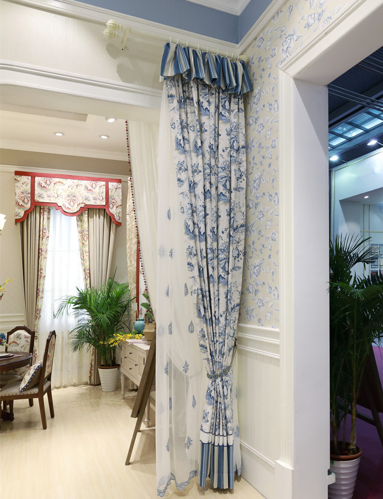 Low price blackout printed flower curtain wholesale macrame lace curtain