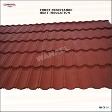 Wanael Classical 1340x420mm colorful stone chips surface treated nail roof tile for arch roof buildings.