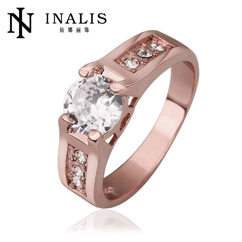 Fashion ring men rose gold jewelry with crystal zircon