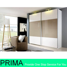 White gloss DIY clothes wardrobe with aluminum sliding doors