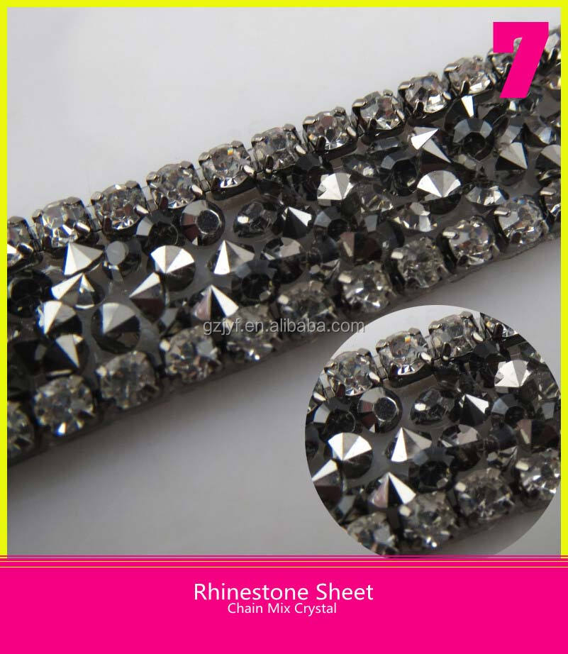 Iron on Glass Sheet Diamond Lace Pointback Black Rhinestone Belt 24X40cm
