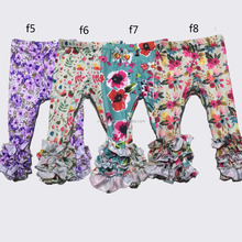 QY-778 2017 New Design Girls Floral Leggings Baby Icing Ruffle Leggings Wholesale Children Icing Pants