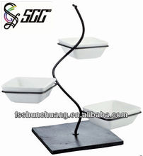 Beautiful Design S-shape Stainless Steel Rack with Ceramic Dishes in Set for Food Display/Hotel Buffet Display