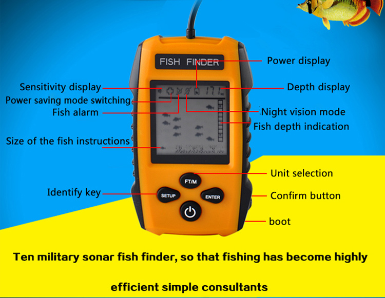 Erchang Portable Fish Finder Sonar Sounder Alarm Transducer Fishfinder 0.7-100m <strong>fishing</strong> echo sounder with Battery with English D