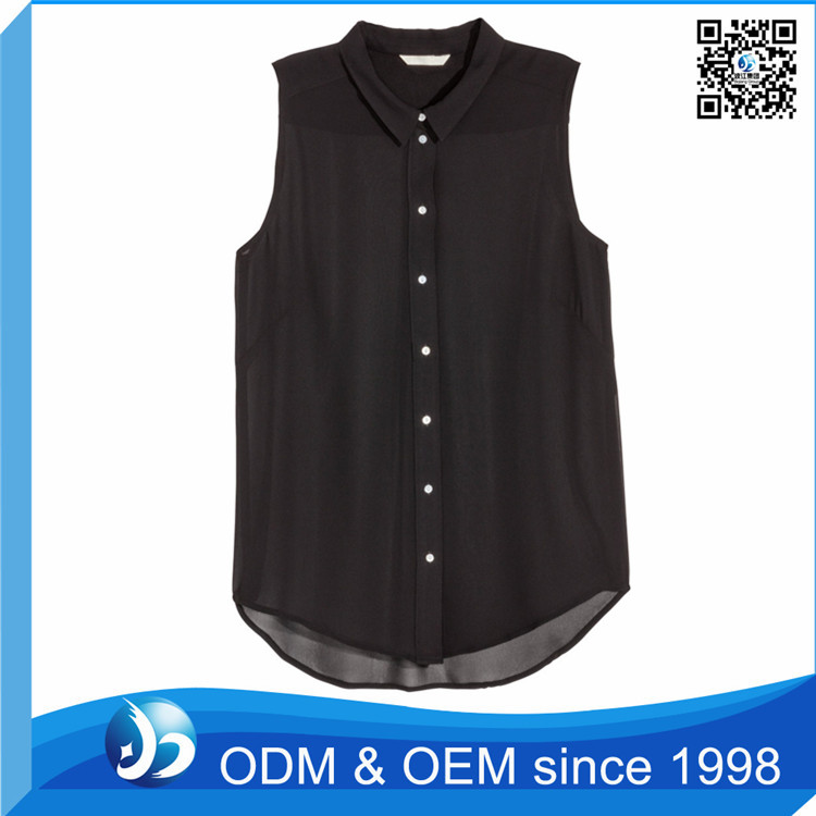 Custom Button Fitness Formal Sleeveless Chiffon Blouses