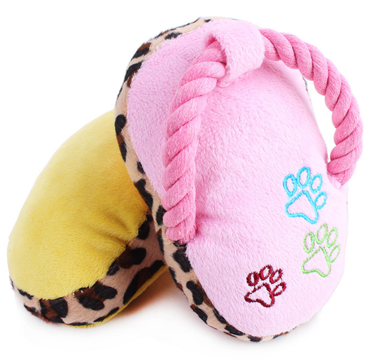 Custom cotton rope plush slipper dog chew toy pet dog toy