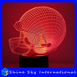 Creative Vision Rugby Helmet 3D Night Light Indoor Decoration LED Night Light